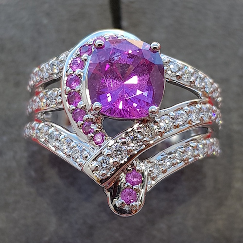 Pink sapphire and diamond platinum cocktail ring